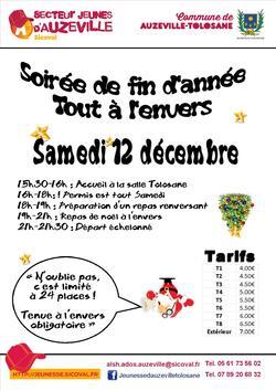 """12 décembre : soirée """"à l'envers"""" à Auzeville"""