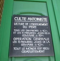 Panneau d'un Temple en Belgique (Ecaussinnes)