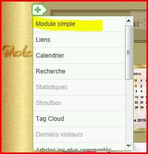 Comment déposer votre calendrier perso dans la colonne sur votre blog en ajoutant un nouveau module