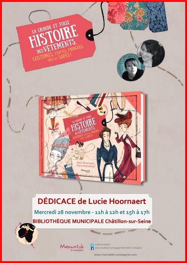 Lucie Hoornaert a dédicacé son très intéressant livre sur l'Histoire du costume....