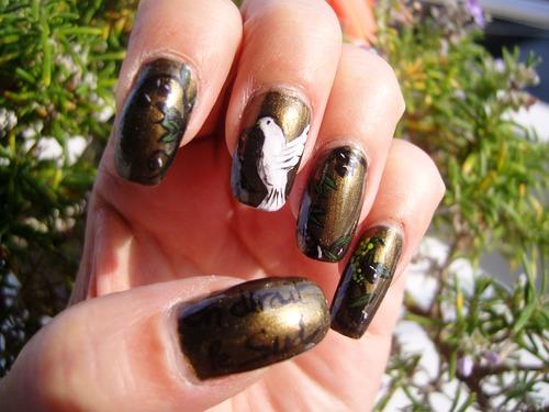 Nail art : Colombe de la paix