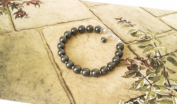 Bracelet Pierre d'Hématite 18 perles 8 mm gris anthracite / Plaqué argent