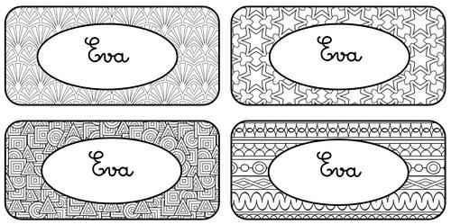 Etiquettes prénoms à colorier
