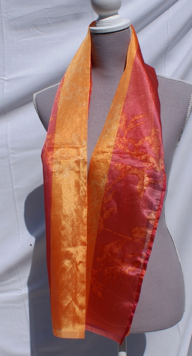 Echarpe en organza bicolore orange / rouge