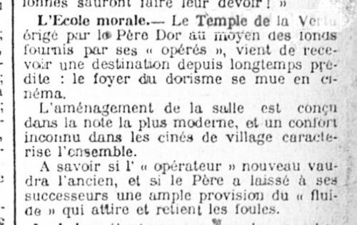 L'école morale devient un cinéma (Gazette de Charleroi, 9 janvier 1921)(Belgicapress)