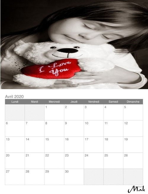 Mon calendrier 2020