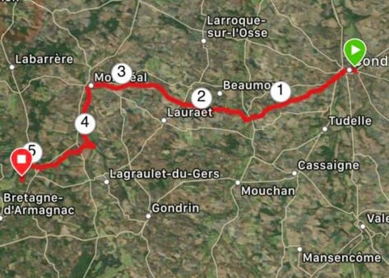 5ème jour Condom (32) > Bretagne d'Armagnac (32) = 26,18 km