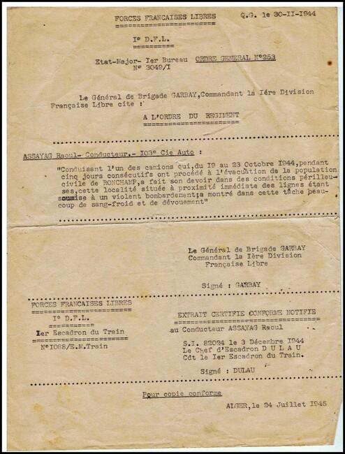 *  Honneur aux anciens de la 1ere DFL - documents et citations de Raoul ASSAYAG - Français Libre