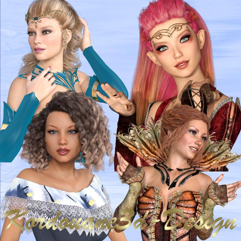 4 portraits en buste de femmes différentes