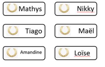 Etiquettes prénoms