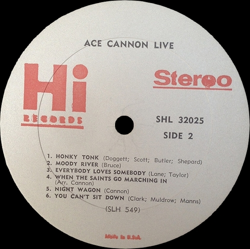 "Ace Cannon : Album "" Live "" Hi Records SHL 32025 [ US ]"