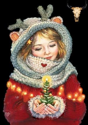 Tube Fillette au sapin de Noël