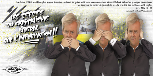 dessin de JERC vendredi 28 octobre 2016 caricature Vincent Bolloré feindre l'ignorance devant sa conduite fautive www.facebook.com/jercdessin