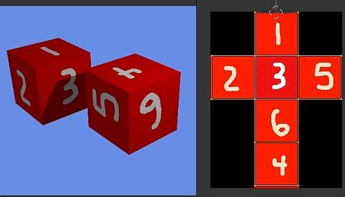 Le cube mappé et l'image utilisée sur la droite