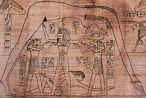 Dessin sur papyrus de Geb, le dieu-terre, allongé sous Nout, la déesse du Ciel, arquée au-dessus de lui et soutenue par son père Chou, le dieu de l'Air. Les barques du jour et de la nuit du dieu-soleil sont visibles sur le dos de Nout.