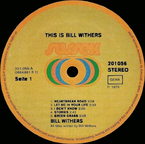 """Bill Withers : Album """" This Is Bill Withers """" Sussex Records 201.056 [ GE ]"""