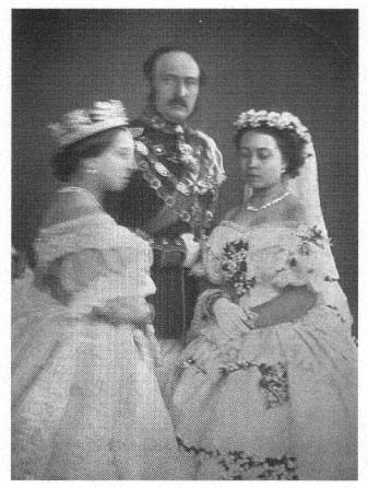 The famous picture of Queen Victoria and Prince Albert with their daughter Victoria on her wedding day, 25 January 1858. The Queen is blurry because she couldn't stop shaking from the anxiety of her daughter leaving home.: