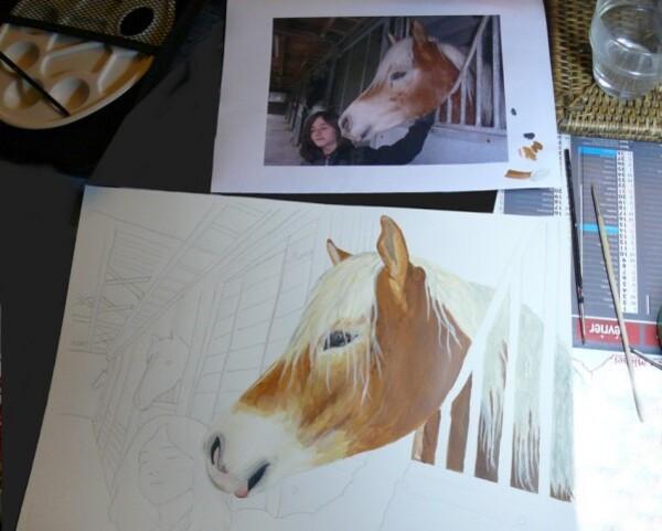 peinture en cours ma nièce et sa jument Oska and-copie-1