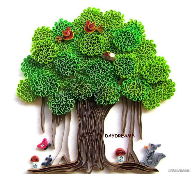 tree quilling art