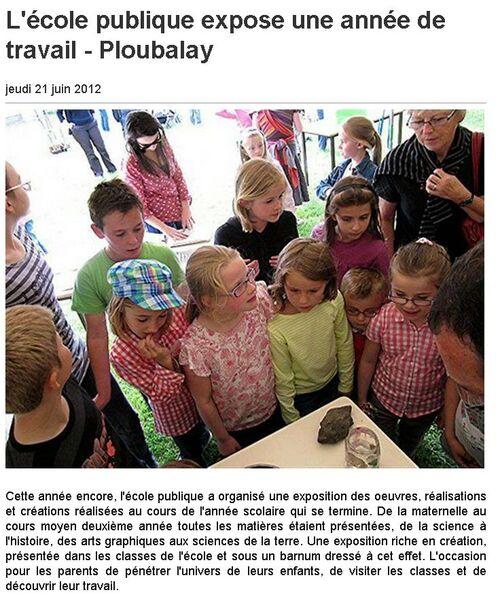 Ouest France - 21/06/2012 - L'école publique expose une année de travail