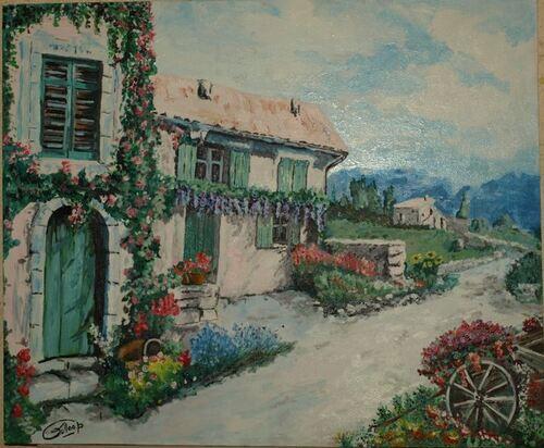 """Paysage 65 X 55, """"Maison fleurie"""", peintures à l'huile"""