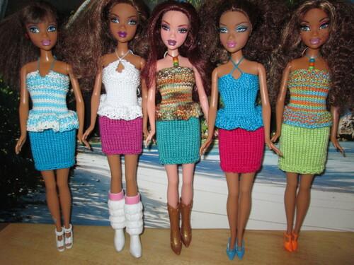 Bustiers et jupes pour barbie