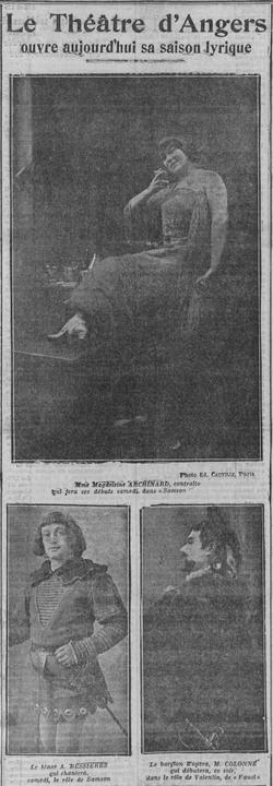 D. PRUNET, 1912-1913, une saison aux commandes du Théatre d'Angers