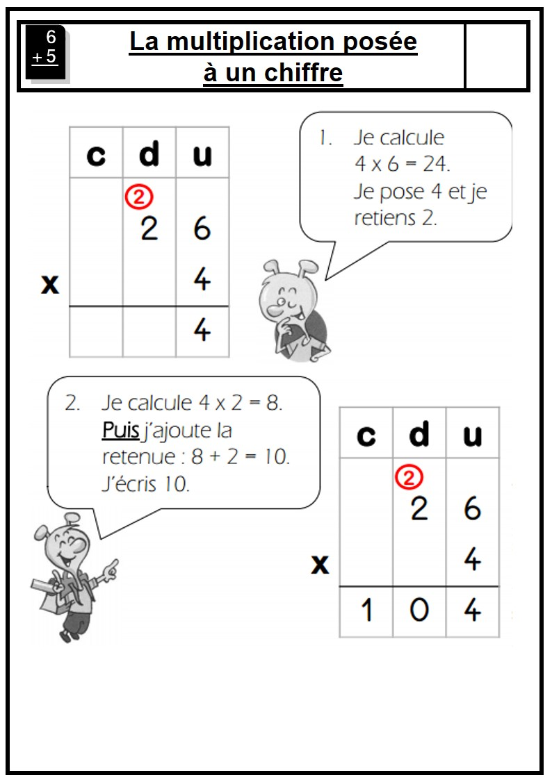 Multiplication le on multiplication pos e ateliers for Multiplication ce2