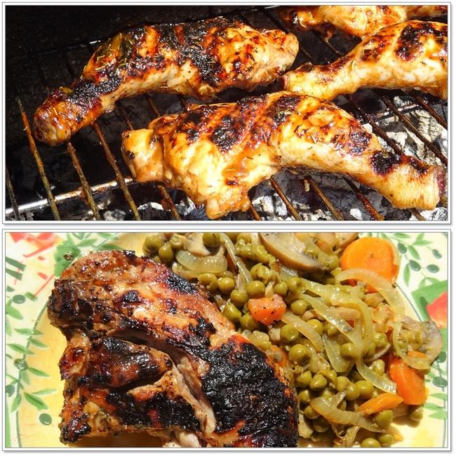 Cuisses de poulet marinées et au barbecue