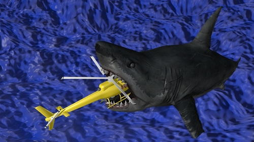 Blender - un requin attaque un hélico