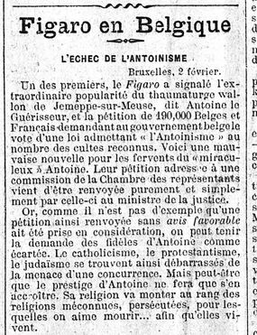L'échec de l'antoinisme (Figaro, 3 février 1911)
