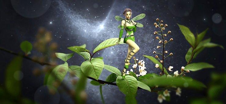 Fantaisie, Elf, Feuilles, Branches, Vert