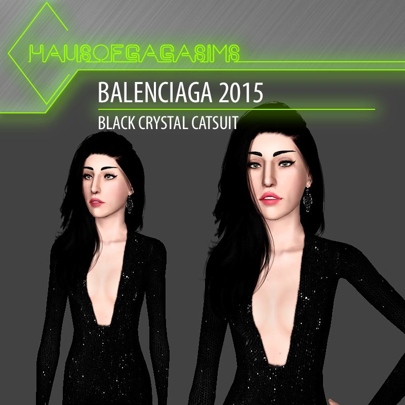 BALENCIAGA 2015 BLACK CRYSTAL CATSUIT