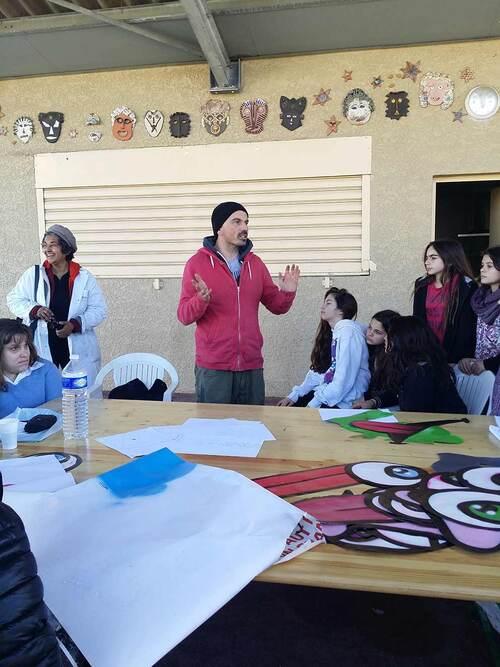 Atelier street-art : realisation d'oeuvres par un groupe de 20 personnes encadrées par Sowan et Jerc. Clapiers (34) 02/2016. Enorme moment de créativité avec un accueil tres sympa de tous et toutes