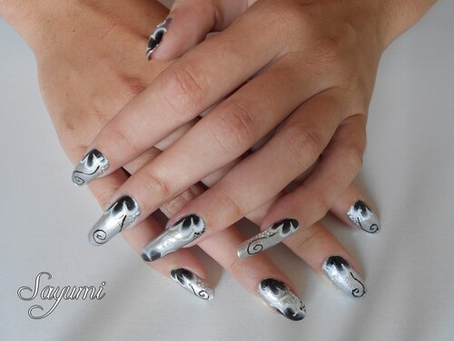Nail Art Silver One Stroke