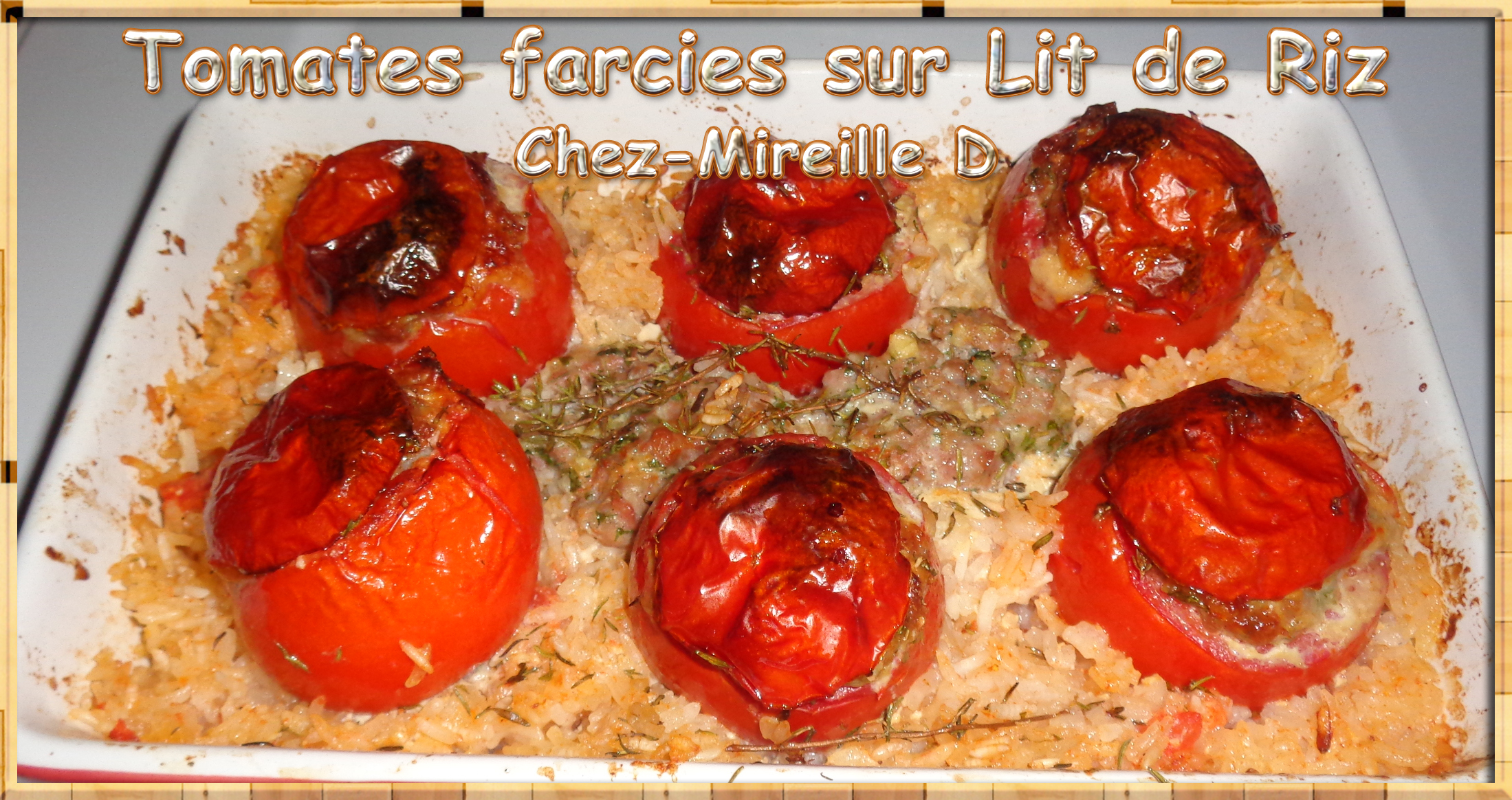 tomates farcies sur lit de riz chez mireille d. Black Bedroom Furniture Sets. Home Design Ideas