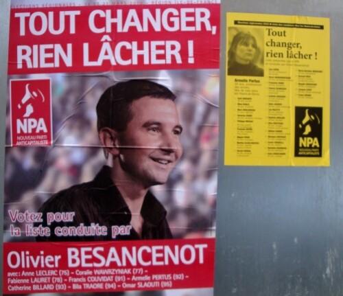 affiche politique Régionales NPA Besancenot