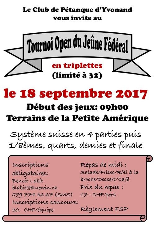 Tournoi Open du Jeune Fédéral 2017