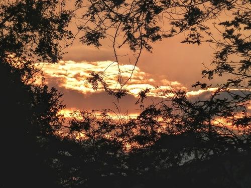 coucher de soleil sur le lodge où nous avons passé la nuit