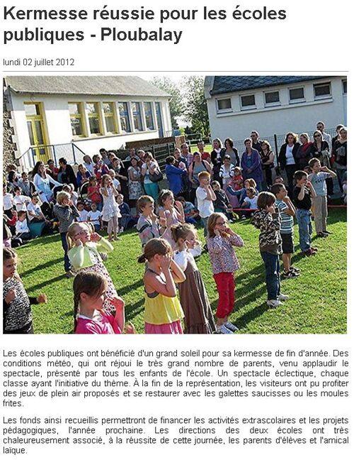 Ouest France - 02/07/2012 - Kermesse réussie pour les écoles publiques