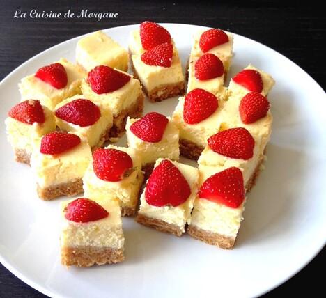 Carrés cheesecake à la fraise
