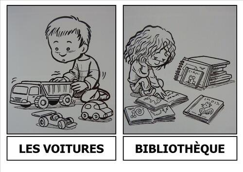 """Les """"coins"""" de la classe : poupées, cuisine, voitures, bibliothèque"""