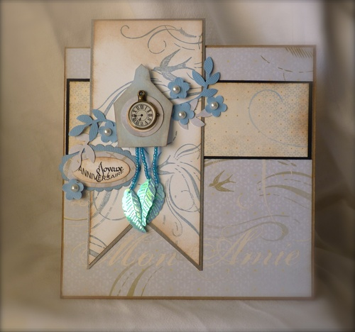 Clock card and text for small oval punch