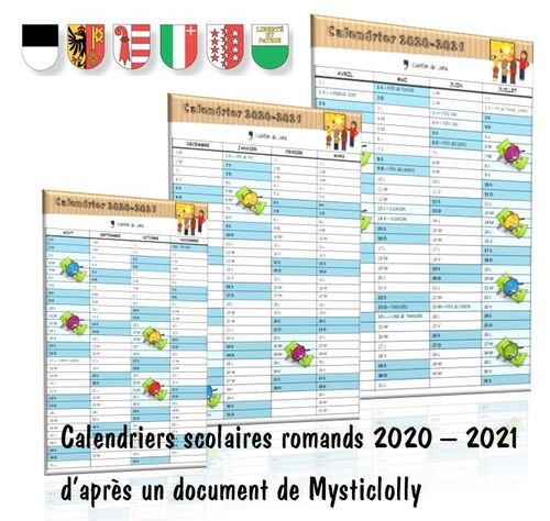 Calendriers scolaires 2020 - 2021 des cantons romands