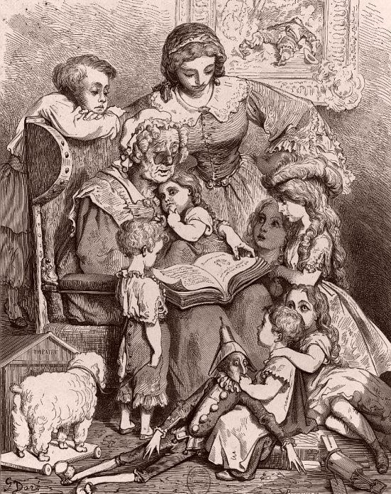 La Lecture des contes en famille. Illustration de Gustave Doré pour le frontispice des Contes de Perrault, édition de 1862