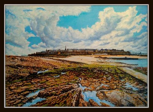 basse marée St Malo  huile sur toile 70 x 50