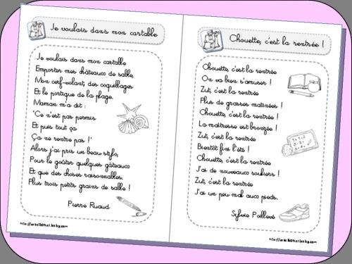 Poèmes pour la rentrée des classes