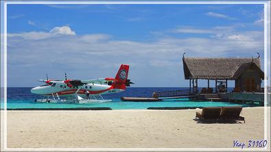 Je suis sur le départ pour une nouvelle plongée, mais pour d'autres vacanciers, c'est la fin du séjour avec le départ en hydravion - Moofushi - Atoll d'Ari - Maldives