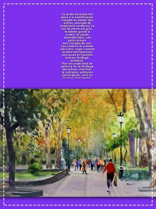 Dessin et peinture - vidéo 3549 : Comment peindre un jardin dans la ville de Madrid (Espagne) ? - aquarelle.