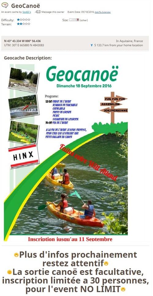 18 septembre 2016 - GeoCanoë